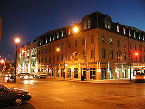 The north-east corner of the John Labatt Centre at Dundas and Talbot streets. This corner of the building is a replica of the facade of the now-demolished Talbot Inn, which once stood here for more than 125 years.
