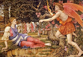 <i>Love and the Maiden</i> painting by John Roddam Spencer Stanhope