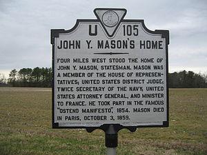 John Y. Mason - John Y. Mason's Home historical marker