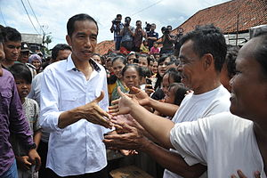 Joko Widodo - Jokowi on a blusukan neighborhood visit in Jakarta