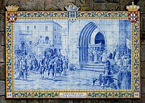 John IV of Portugal - Panel of glazed tiles by Jorge Colaço (1940), representing the acclamation of King John IV of Portugal, in 1640. Ponte de Lima, Portugal