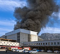 July 21, 2018, Cape Town train fire from station parking lot.jpg