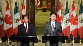 Foreign relations of Mexico - Press conference between Canadian Prime Minister Justin Trudeau and Mexican President Enrique Peña Nieto in Ottawa; 2016.
