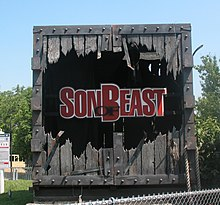 The broken crate once featured at the entrance to the Son of Beast.