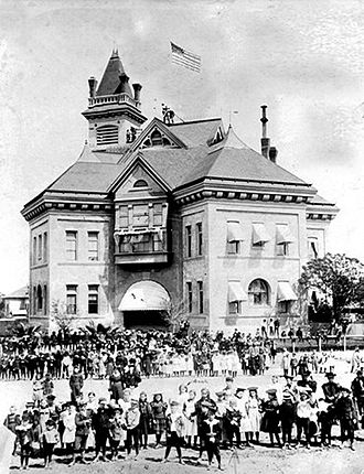 Fresno, California - An 1897 photo of K Street High School, which was replaced by Fresno High School in 1896. The school later became Emerson Elementary School and was demolished ca. 1930.