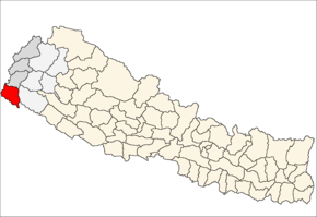 Kanchanpur District i Mahakali Zone (grå) i Far-Western Development Region (grå + lysegrå)