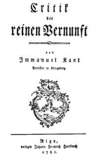 <i>Critique of Pure Reason</i> 1781 book by Immanuel Kant