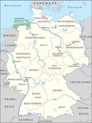 Lower Saxon Wadden Sea National Park - Image: Karte Nationalpark Niedersächsisches Wattenmeer