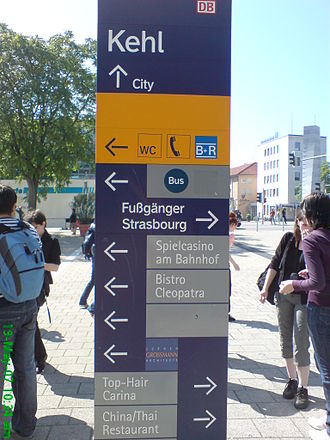 Kehl - Directions board outside Kehl train station