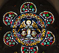 Kildare White Abbey North Transept Rose Window Evangelists Symbols Ox and Eagle 2013 09 04.jpg