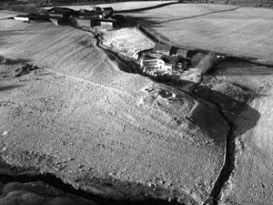 Shadow marks - Kite aerial photo of the site of Ogilface Castle, Woodend, West Lothian in low sunlight