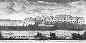 Kloster Berge school - Kloster Berge seen from the northwest in 1780; the old school building is labelled E, the new school building F, and the observatory tower C
