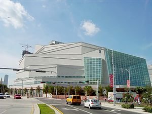 Adrienne Arsht Center for the Performing Arts - The Knight Concert Hall on opening weekend from the north