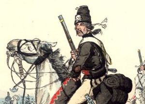Black - Hussar from Husaren-Regiment Nr.5 (von Ruesch) in 1744 with the Totenkopf on the mirliton (ger. Flügelmütze).
