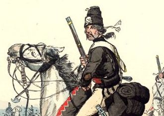 Hussar from Husaren-Regiment Nr.5 (von Ruesch) in 1744 with the Totenkopf on the mirliton (ger. Flugelmutze). Knoe02 von Reutsch Husaren.jpg