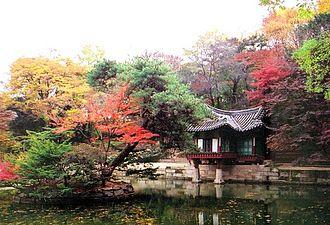 Changdeokgung - Buyongjeong Pavilion (pre-2012 restoration) and Buyeongji pond at the Huwon area