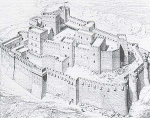 Zwinger - The Krak des Chevaliers with its extensive Zwinger system around the inner ward (artist's reconstruction from 1871)