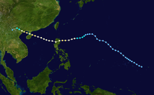 Track of a tropical cyclone as represented by colored dots on a map. Each dot represents the storm's position at six-hour intervals, while the color of each dot denotes its intensity.