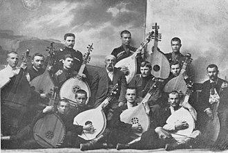 Ukrainians in Kuban - The second summer bandura school in Yekaterynodar 1914. Mykola Bohuslavsky in the centre.