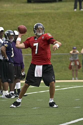 Kyle Boller - Boller (7) practices with the Ravens in 2008.