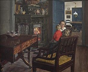 Kunstnerens hustru og børn i interiør
