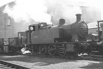 Wyre Dock railway station - The goods branch into the docks was shunted by small locomotives, latterly by the LMS Fowler Dock Tanks. 47165 is in steam at Fleetwood in 1958