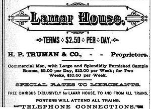 Bijou Theatre (Knoxville) - Lamar House advertisement, 1884