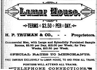 Bijou Theatre (Knoxville) - Lamar House advertisement, 1884