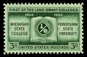 Michigan State University - USPS commemorative stamp showing the first federal land-grant colleges