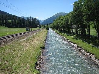 Das Landwasser bei Davos-Islen, Richtung SW