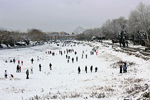 Snowball fight - A large snowball fight in dry riverbed of Zayanderud