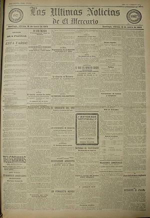 Las Últimas Noticias - 16 January 1903 (number 53) edition of Las Últimas Noticias de El Mercurio