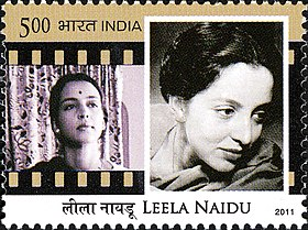 Leela Naidu 2011 stamp of India.jpg