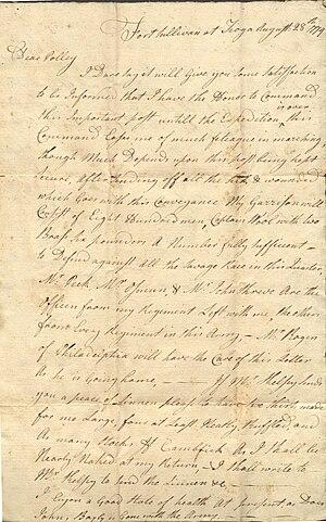 Israel Shreve - Image: Letter from Israel Shreve to Mary Shreve (August 28, 1779)