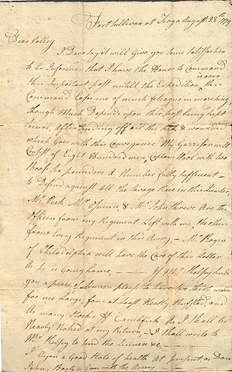 Israel Shreve - Image: Letter from Israel Shreve to Mary Shreve (August 28, 1779)