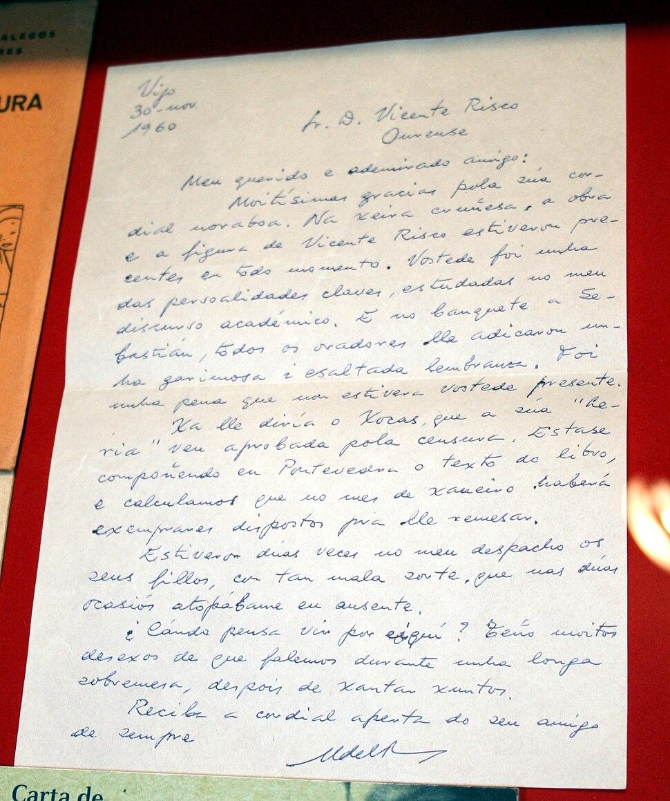 Letter sent by Francisco Fernández del Riego to Vicente Risco, described in Museum of Vicente Risco in Allariz, Ourense, Galicia