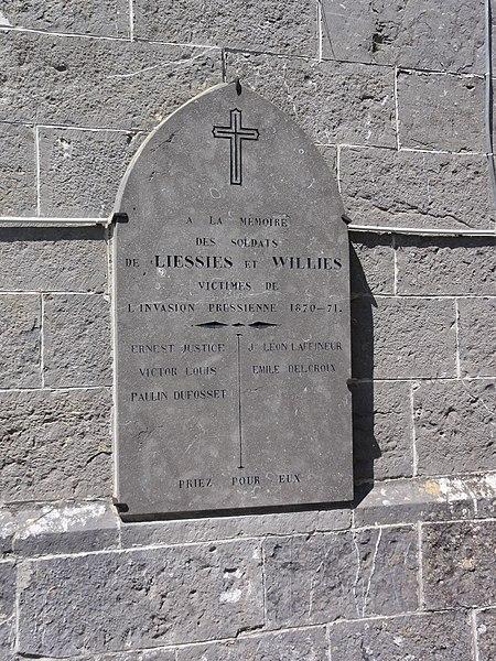 Liessies (Nord, Fr) plaque commémorative 1870