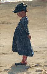 Little girl standing on Skagen's southern Beach