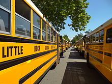 A line of school buses