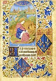 Page of illuminated manuscript showing John of Patmos and the coats of arms of Joan of France and Catherine of Armagnac
