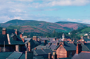 Village of Llangollen in North Wales/UK, view ...