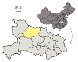 Location of Xiangyang City jurisdiction in Hubei
