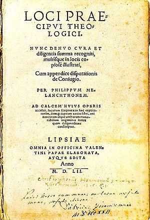 Philip Melanchthon - Loci Communes, 1521 edition