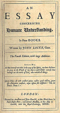 "Page reads ""An Essay Concerning Humane Understanding. In Four Books. Written by John Locke, Gent. The Fourth Edition, with large Additions. Eccles. XI. 5. As thou knowest not what is the way of the Spirit, nor how the bones do grow in the Womb of her that is with Child: even so thou knowest not the works of God, who maketh all things. Quam bellum est velle consteri potius nescire quod nescias, quam ista effutientum nauseare, atque ipsum sibi displicere! Cic. de Natur. Deor. l. I. London: Printed for Awasham and John Churchil, at the Black-Swan, in Pater-Noster-Row; and Samuel Manship, at the Ship in Cornhill, near the Royal Exchange, MDCC."""
