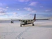 Loganair Islander at Fair Isle