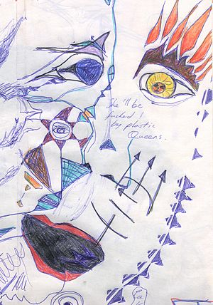 LSD art - A drawing of a face, made under the effects of LSD. Dr. Oscar Janiger noted similarities between paintings made under the influence of the drug and those made by schizophrenics.