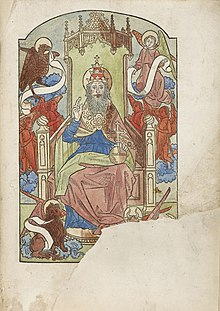 Page containing coloured illustration with the bottom right corner missing; it shows God seated on a throne surrounded by angels and mythical beasts