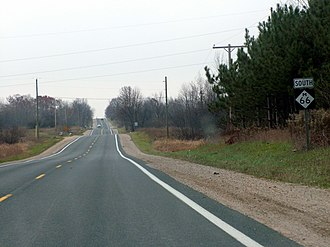 M-66 (Michigan highway) - A characteristic view of M-66 in rural Michigan just south of the M-46 junction