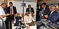 M. Hamid Ansari addressing a Press Conference on board Special Aircraft while returning back from Brunei and Thailand,. The Minister of State for Home Affairs, Shri Haribhai Parthibhai Chaudhary is also seen.jpg