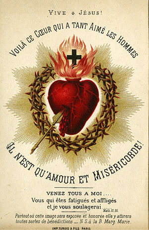 Sacred Heart - Catholic holy card depicting the Sacred Heart of Jesus, circa 1880. Auguste Martin collection, University of Dayton Libraries